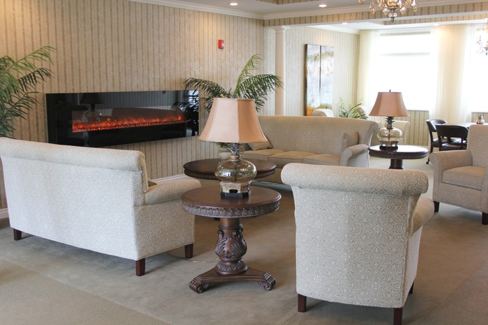 The living room features exquisite furniture, room to spend time with other residents, and an electric fireplace.